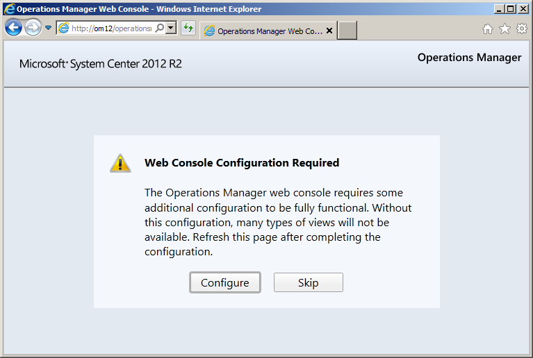 Operations Manager 2012 R2 Web console