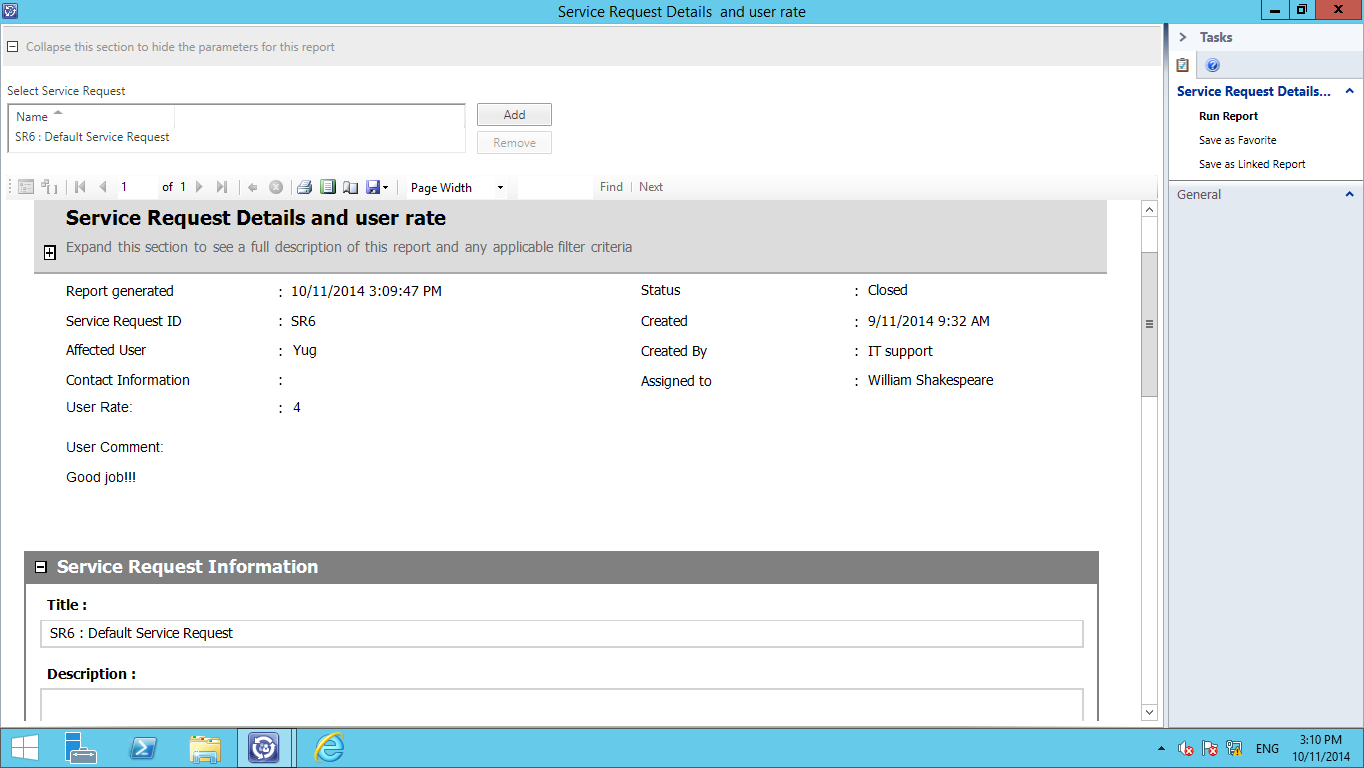 System Center 2012 Service Manager Service Request Example report